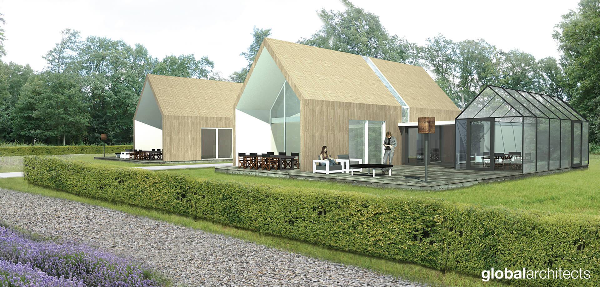 boswoning met kas als wintertuin en duurzame energie opwekking