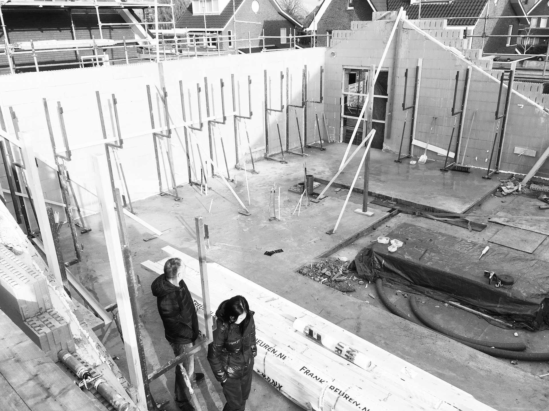 bouw villa Passief bouwblokken in volle gang