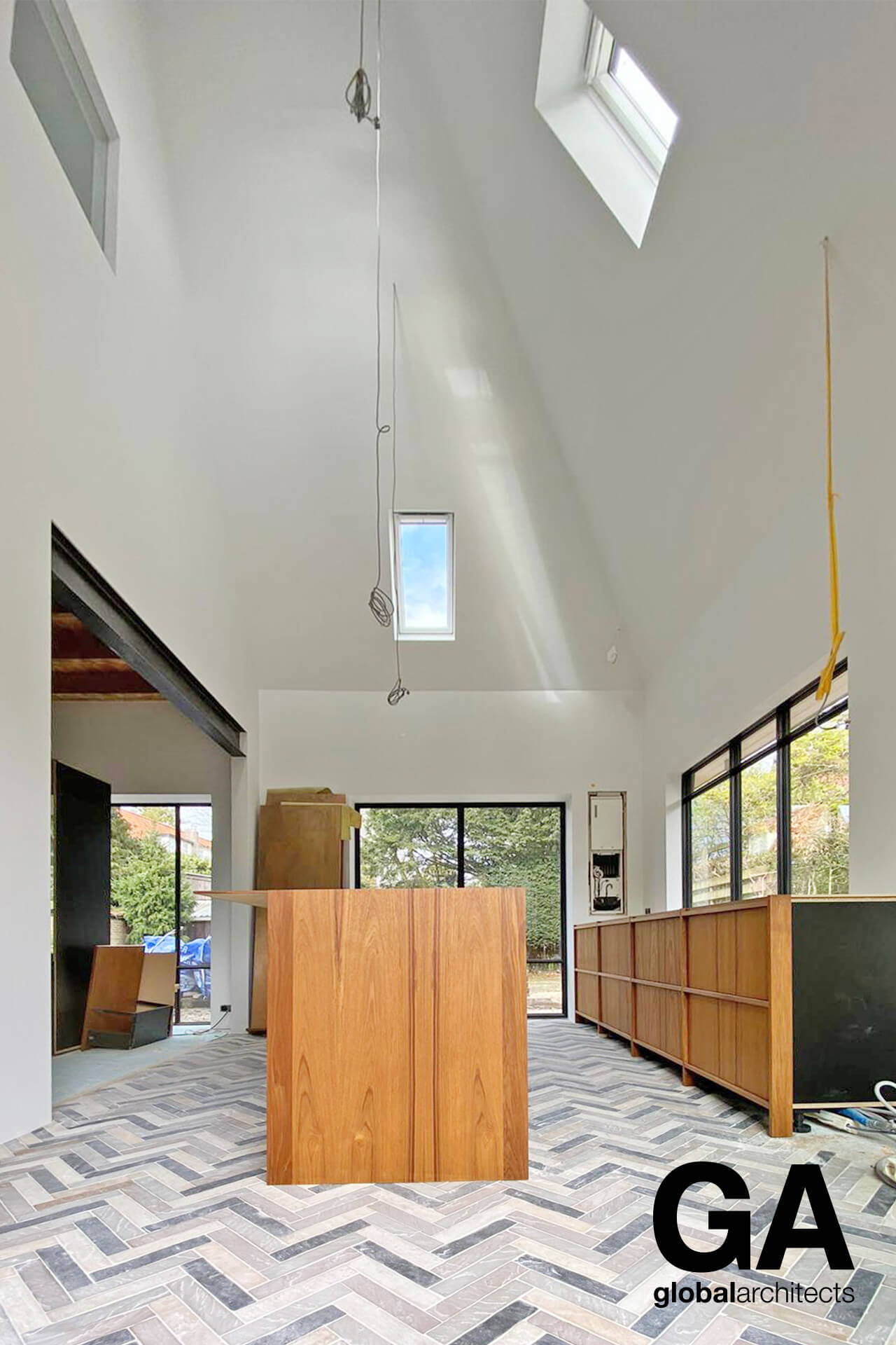 The kitchen is a very important part of the house and also the garden.  Inside/outside feeling is supported by the selected floor surface and huge openings to all the sides.